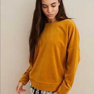 AERIE Velour Pullover Mustard Size Small
